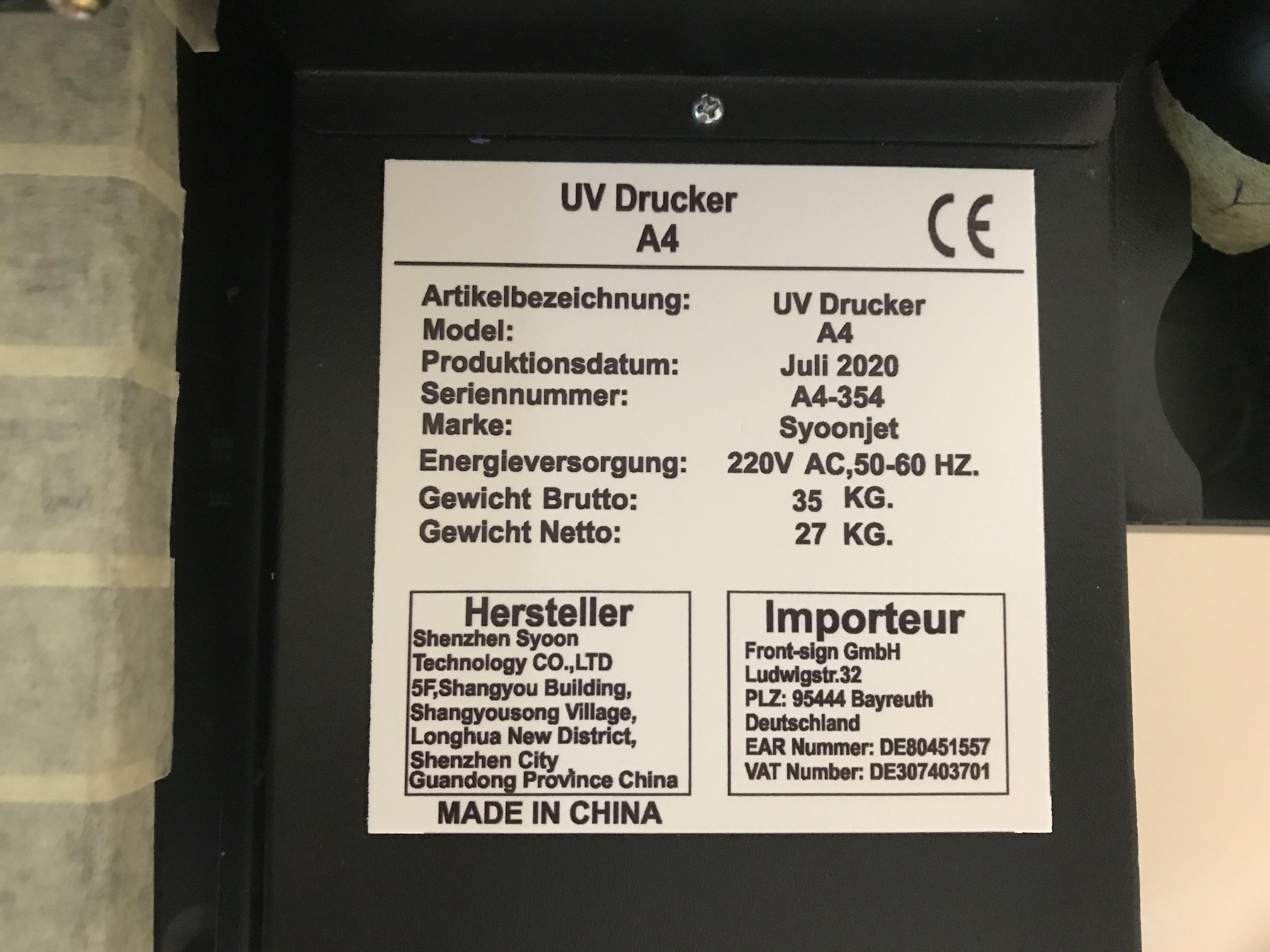 Flachbett UV Drucker A4 zum Bedrucken von Kunststoff (175x300mm)
